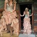 Hi lo Prom Vestidos Largos 2016 con Blusa Corsé Sexy Cristales Sweetheart Ruffles de Noche Formal Vestidos Del Partido vestido de festa