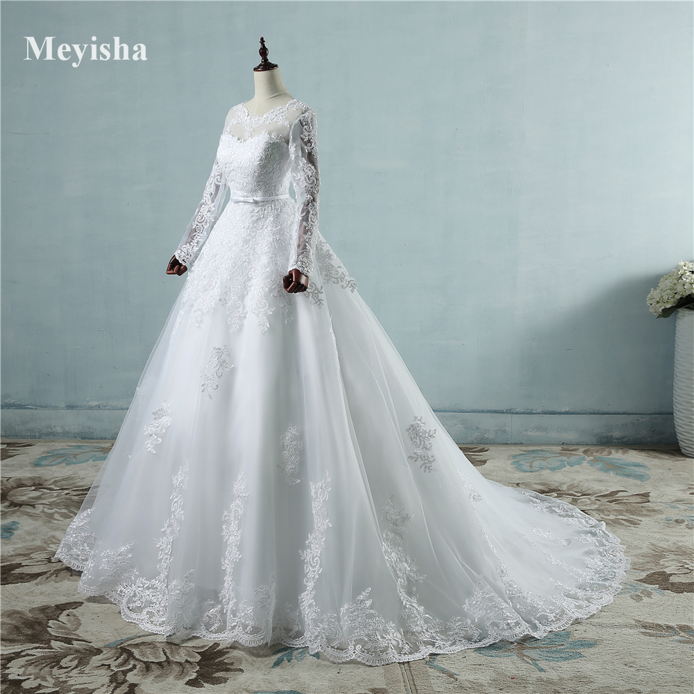 ZJ9065 Corset lace up 2019 White Wedding Dresses with lace edge big train long sleeves for
