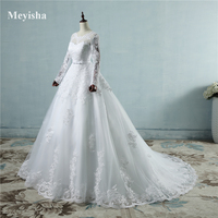 ZJ9065 Corset Lace Up 2016 White Wedding Dresses Lace Long Sleeves For Brides Plus Size Maxi