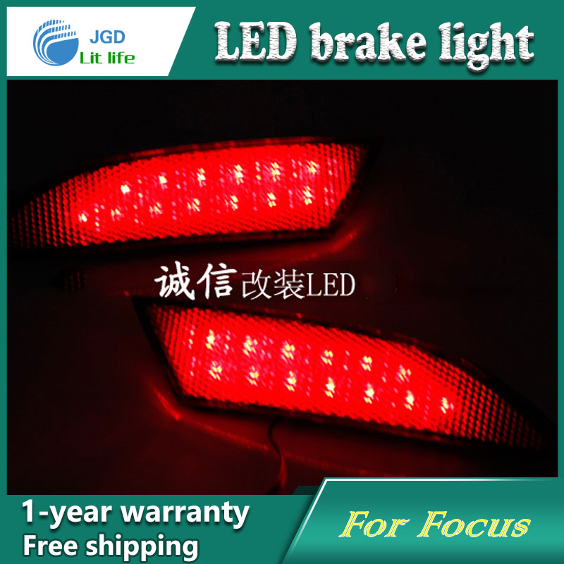Car Styling Rear Bumper LED Brake Lights Warning Lights case For Ford Focus 2012 Accessories Good Quality dongzhen fit for nissan bluebird sylphy almera led red rear bumper reflectors light night running brake warning lights lamp