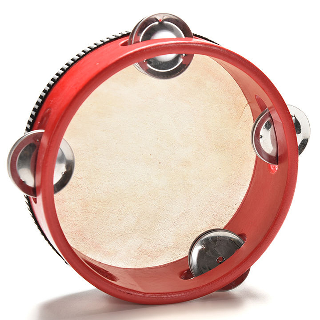 6' Musical Tamborine Drum Round Percussion 4 Jingles For KTV / Party/ Festival Or Celebration Or As Education Toy