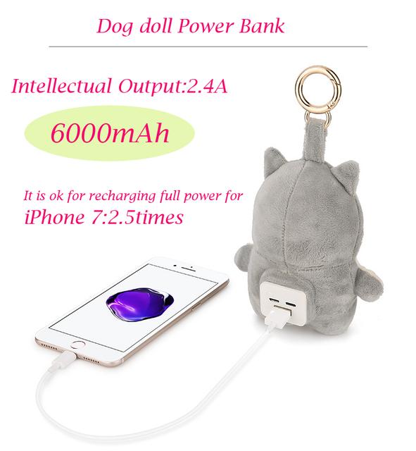 Recomendar 6000 mAh Banco De Potência com boneca cão Externa carregador powerbank para o telefone móvel para ao ar livre para as meninas