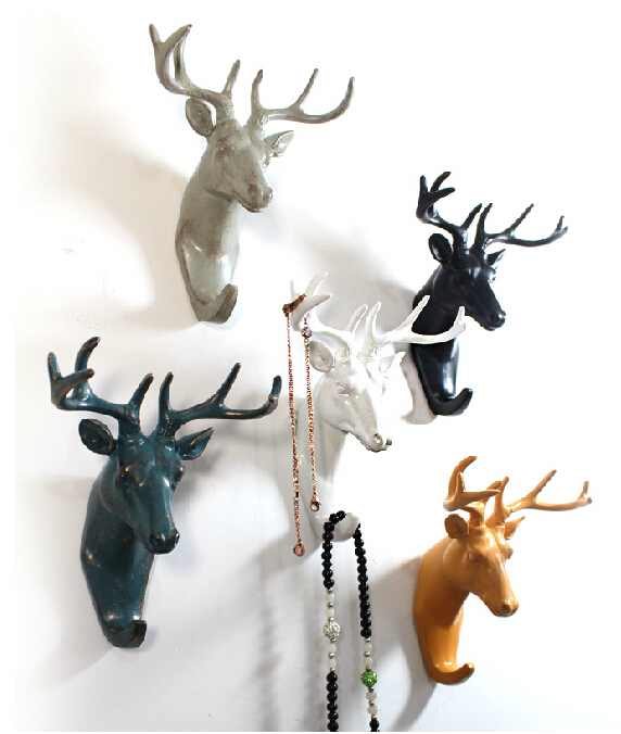 After the European deer creative home wall decor bedroom door hooks coat hooks single retro animal