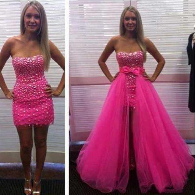2 Pieces Prom Dresses Hotpink Removable Skirt Diamonds Bow Tulle ...