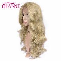 HANNE 26 inch Długie Ciało Fala Włosy Syntetyczne Koronki Przodu Peruk na Białym Kobieta Wysokiej Temperatury Włókna Mix Ash Blonde Party peruka