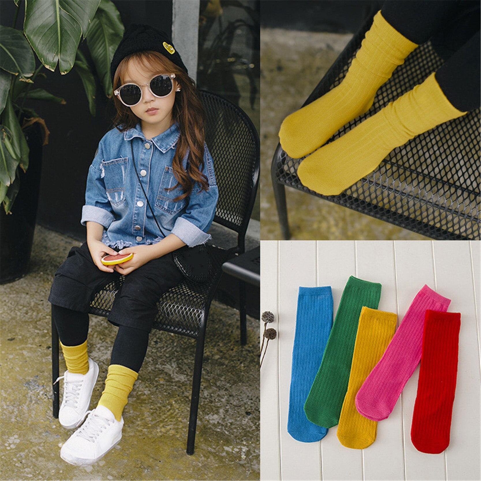 New Candy Color Children Socks For Girls Boys Cotton High Knee Tube Socks Infant 0-3 Years цена