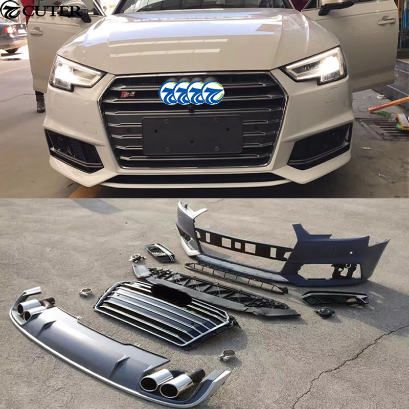 A4 B9 S4 Front Bumper Auto Rear Diffuser Lip Exhaust Tail Pipes For Audi A4 S4 Car Body Kit 16-18