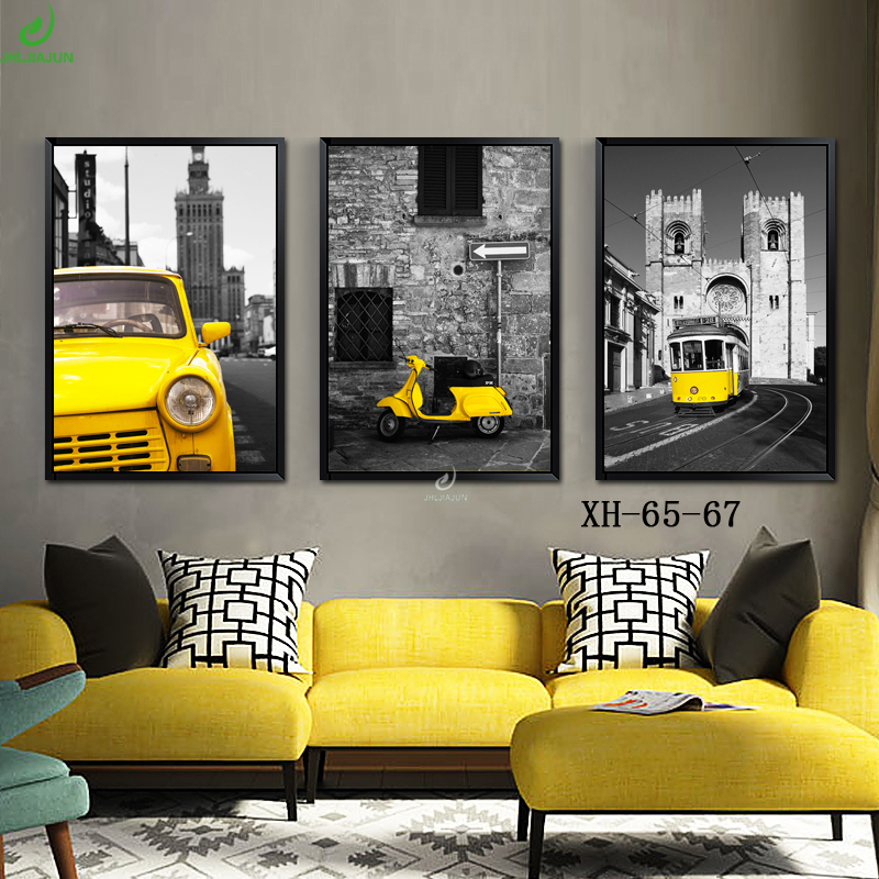 JHLJIAJUN Automobile Canvas Painting Nordic Bright Colored Wall Art ...
