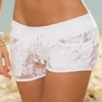Women's Drawstring Shorts Sexy Lace Sheer Floral Hollow Out Elastic Party Travel Shorts Panty Summer 4