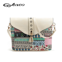 2016 Winter Vintage Bag For Women Messenger Bags Canvas Print Crossbody Shoulder Bag Small Ladies Designer