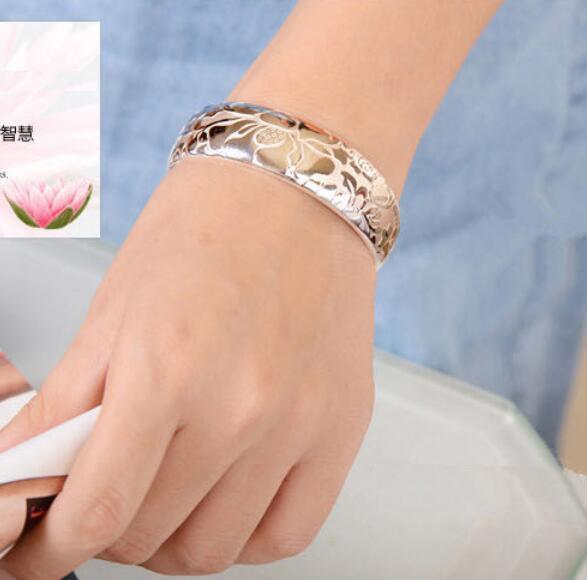 OMHXZJ Wholesale fashion geometric lotus woman kpop star Fine 999 Sterling Silver opening adjustable bracelet Bangles SZ09 in Bracelets Bangles from Jewelry Accessories