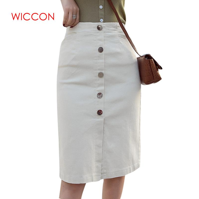 High Waist Single Breasted Women Jean Skirt Streetwear Skinny Female Pencil Skirt 2019 White Pockets Casual Denim Skirt