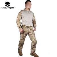 EMERSON Gen2 Uniform combat Airsoft uniform training Shirt & Pants Suits with elbow knee pads EM6970 Multicam Arid MCAD