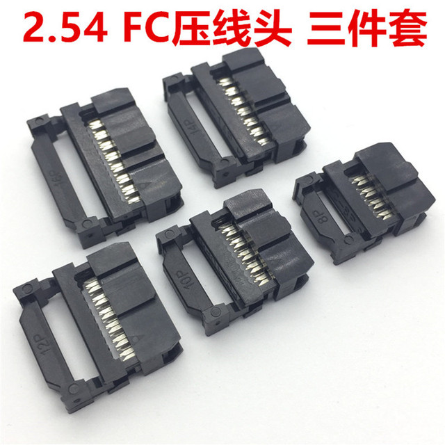 10set FC-6P FC-8P FC-10P FC-14P FC-16P To FC-40P IDC Socket 2×5 Pin Dual Row Pitch 2.54mm IDC Connector 10-pin cable socket