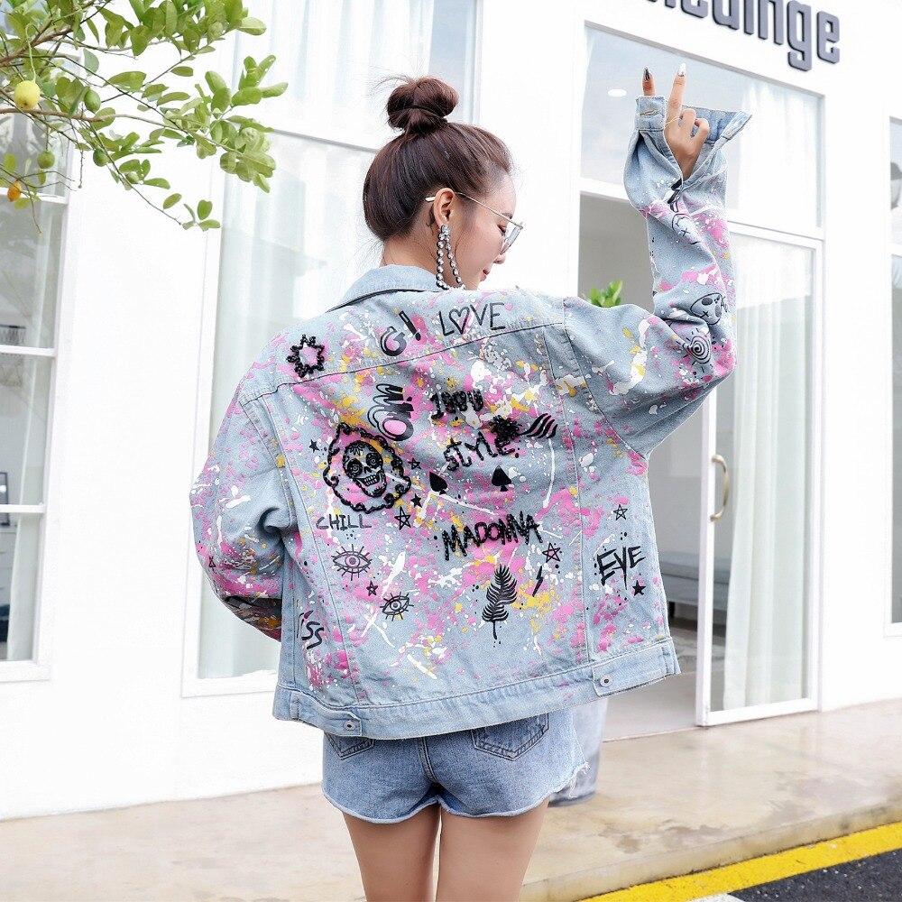 Female High Street Graffiti Print Cardigan Autumn New Design Long Sleeve Coat Turn Down Collar Street