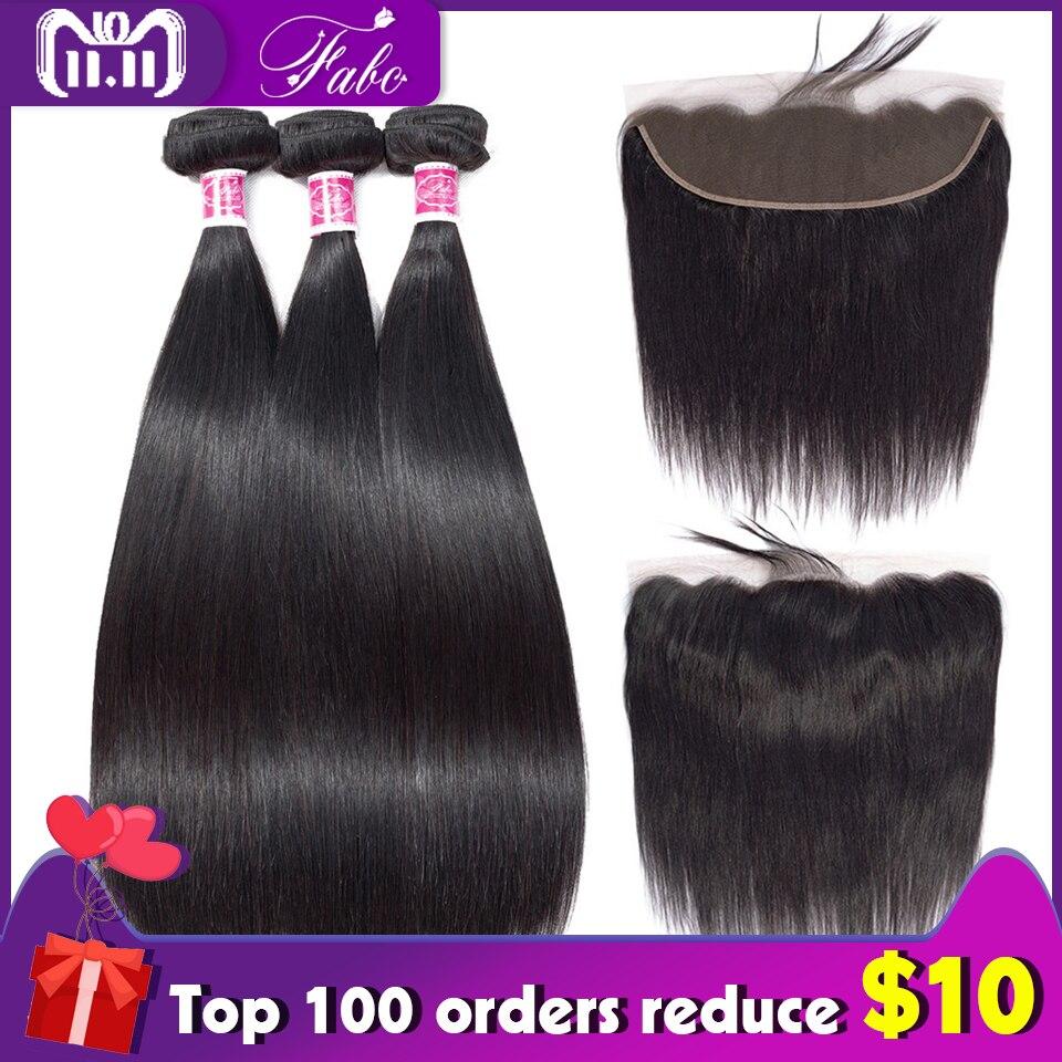 FABC שיער 3 חבילות ברזילאי ישר שיער עם תחרה פרונטאלית סגירת רמי שיער טבעי 13x4 אוזן לאוזן פרונטאלית עם תינוק שיער
