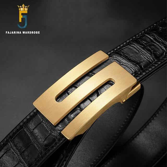 FAJARINA Top Quality Crocodile Skin Belts Exquisite Stainless Steel Letter Smooth Buckle Business Belt Men 33mm Wide EYFJ01M 1
