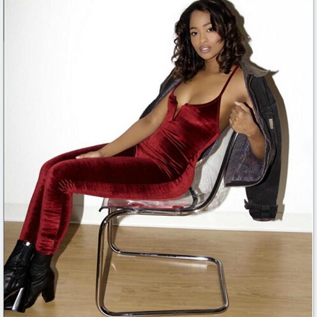2016 Moda de veludo sólida Sexy Roupas Uma Peça Bodycon magros Rompers Mulheres Jumpsuit Macacões Playsuit vermelho
