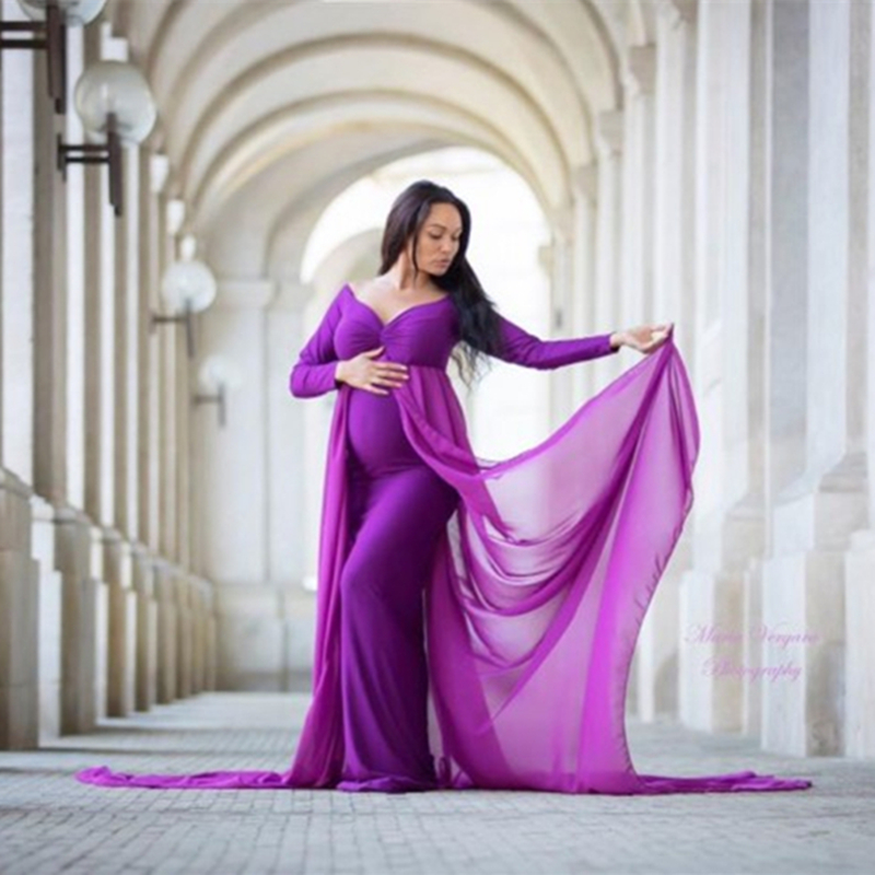 Baby Shower Jersey Dresses Maternity Photography Long Dress with Cloak Fitted Pregnancy Dresses Chiffon Cloak  Maternity Gown