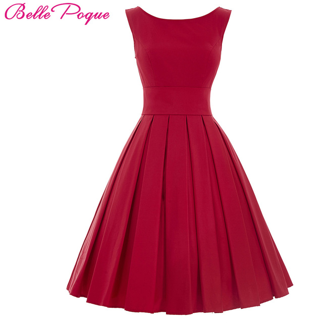 Belle Poque Women Dress 2017 Black Red Casual Clothes 50s 60s Retro Vintage Crew Neck V-Back Summer Rockabilly Party Dresses