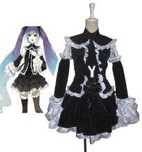 Envío Gratis Vocaloid Hatsune Miku Negro lolita vestido de Cosplay del Anime