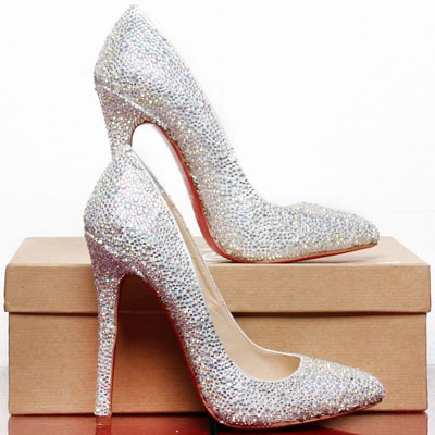 69d5eab3cb4 Sexy Bling Sliver Pumps Famous Red Bottom Heels Pointy Hot Drilling ...