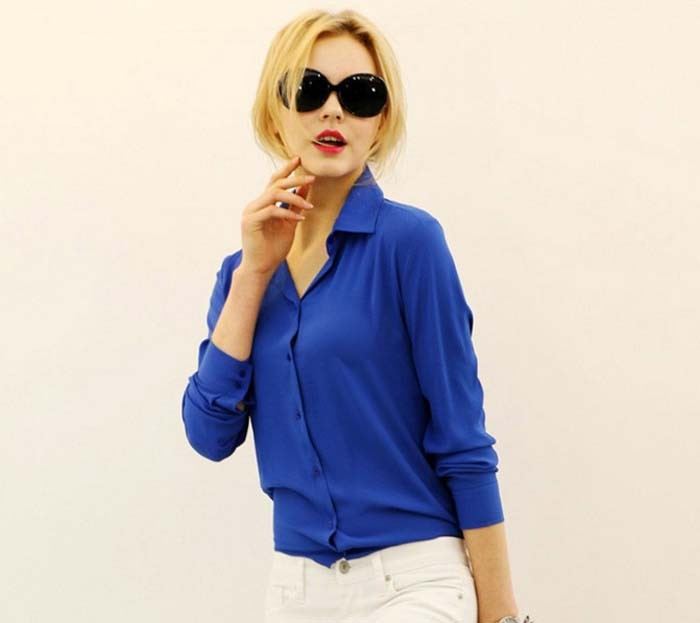 1PC Women Chiffon Blouse Long Sleeve Shirt Women Tops Office Lady Blusas Femininas Camisas Mujer Z231 9