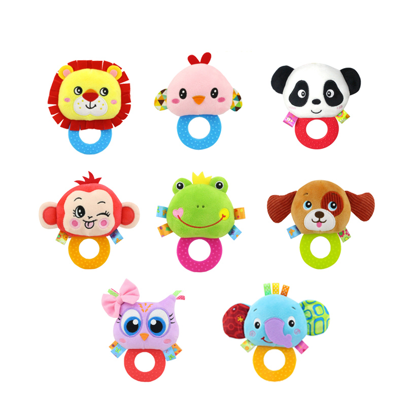 Baby Teethers Rattles Stuffed Plush Cute Animal Toys For Grinding Teeth Grip And Bite Hand Grasp Pleasant Ringtones Handbell