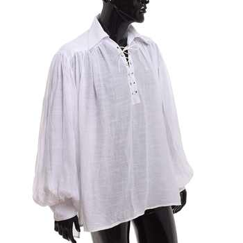 Vintage Pirate Costume Renaissance Gothic Medieval Colonial Vampire Gentlemen LANTERN SLEEVES White Black Caribbean Shirts - DISCOUNT ITEM  7% OFF All Category