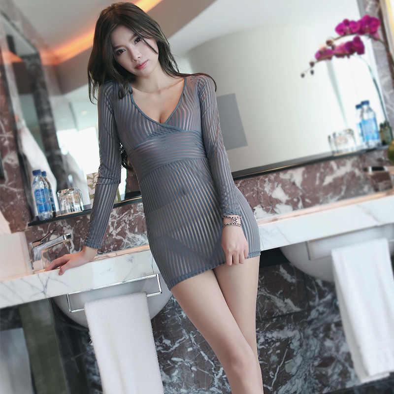 Bodycon Women Sexy Porn Erotic Dress Party Night Club Wear Dress See Through Mesh -8230