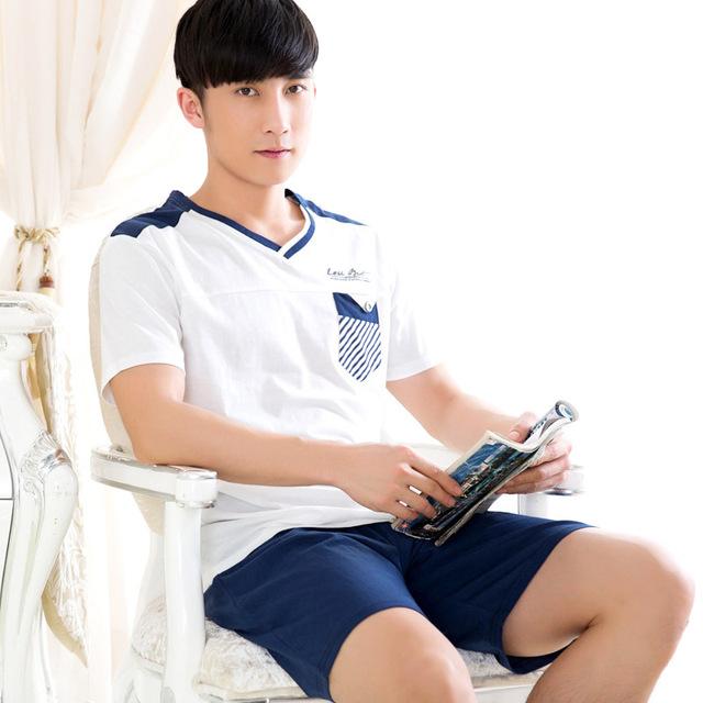 Moda de alta qualidade Homem do pijama define conjunto de roupas meninos de verão dos homens do Sono & Lounge casual homewear 053