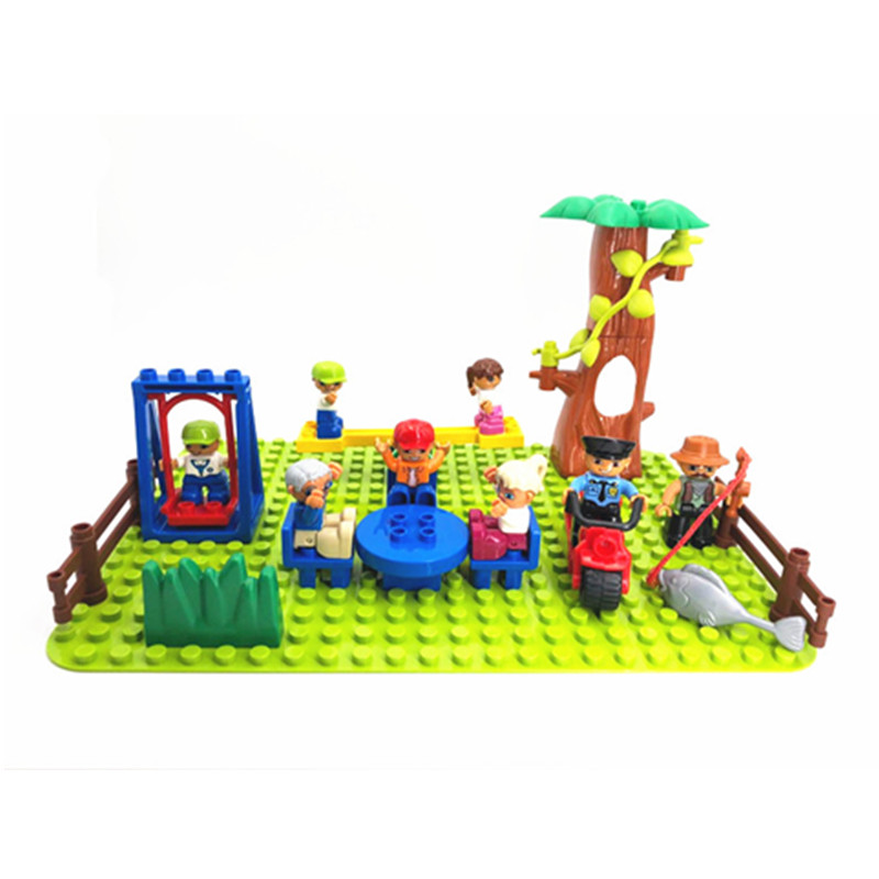 Big Size Diy Building Blocks Swing Seesaw Table Fish Accessories Kids Toys For Children Compatible With Legoingly Duplo Bricks big bricks building blocks base plate 51 25 5cm 32 16 dots baseplate diy bricks toy compatible with major brand blocks