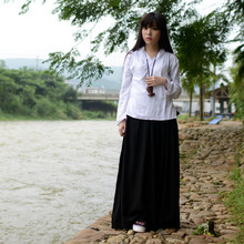 Hanfu Costume Black Long Skirt Chinese Clothes Summer High Waist Red Cotton Linen Retro Maxi Skirt Saia Longa Jupe Faldas Largas