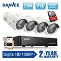 SANNCE 4CH 1080 P NVR Sistema CCTV POE 1080 P de Salida de Vídeo 4 UNIDS 2.0MP CCTV POE IP Cámara de Seguridad Inicio de Vigilancia Kits 1 TB HDD