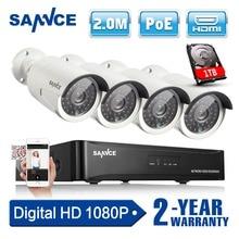 SANNCE 4CH 1080P CCTV System POE NVR 1080P Video Output 4PCS 2.0MP CCTV POE IP Camera Home Security Surveillance Kits 1TB HDD