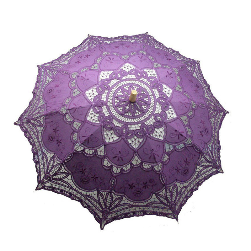 Embroidery Lace Straight Wooden Handle Umbrella Wedding Decoration Parasol Bridal Photograph 10 Colors Red Blue Pink