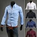 2015 известный бренд мужские рубашки лямки дизайн trend роскошные длинным рукавом stpried slim fit camiseta masculina размер m-3xl
