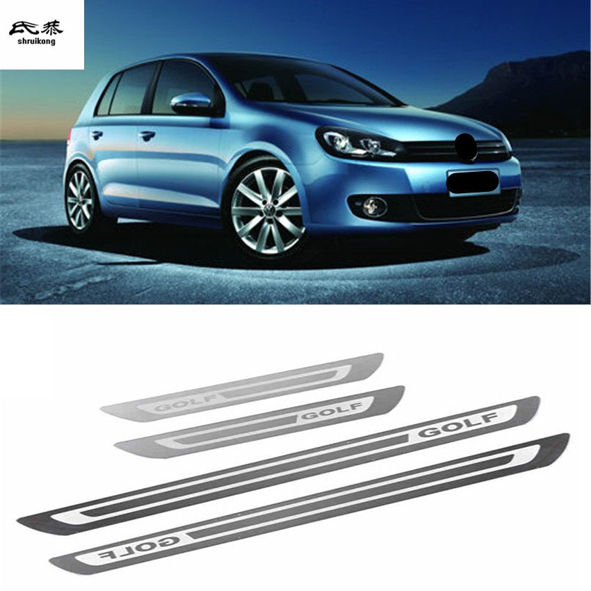 Free shipping Stainless steel 4pcs/lot for 2010-2018 Volkswagen VW golf 6 golf 7 GTI car door sill pedal car accessories 1