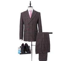 NA56 двубортный мужские костюмы пик Colllar высокое качество жениха носить сетки костюмы Индивидуальные сделать размеры