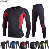 Two piece suit Men Long Sleeve Running Sets Yoga Quick Dry Basketball Gym Jogging Suits Compression Yoga Sport Fitness Sport Set