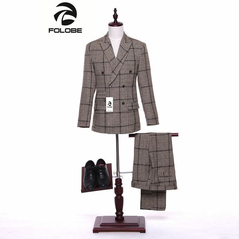 Folobe Tweed Brown Plaid Stock Men suit English Style Blazers Retro Slim fit wedding suits for men 3 Piece Tuxedos M16