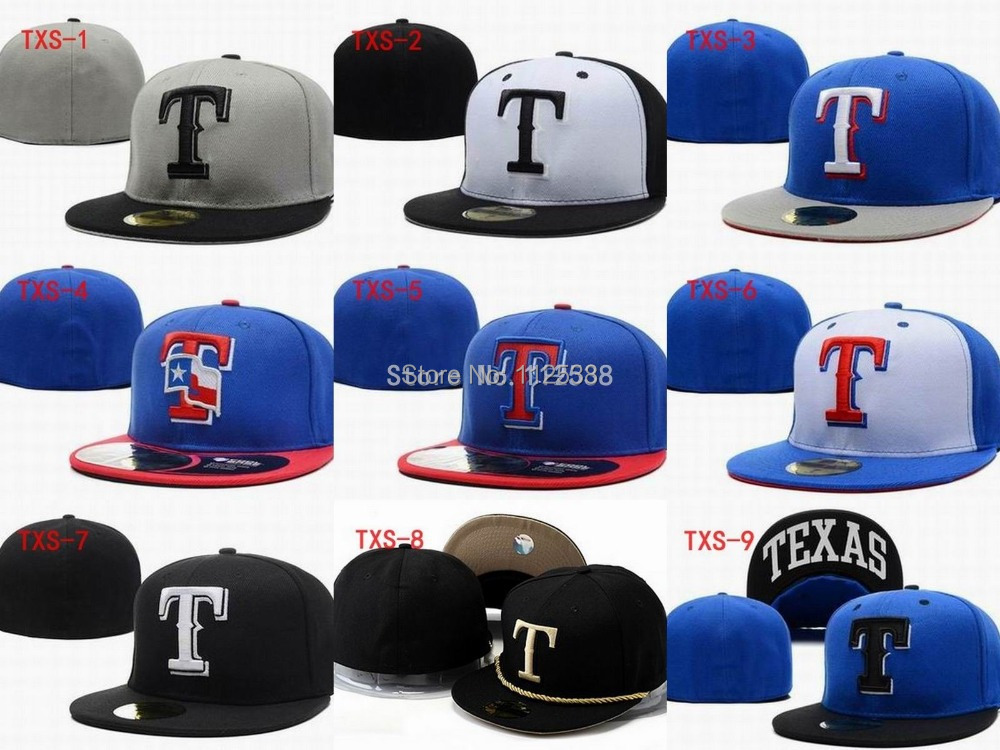 T letter caps Texas Rangers Fitted Flat Hats Sports Team Baseball Size Caps  One Piece free shipping 8b0c3427b39