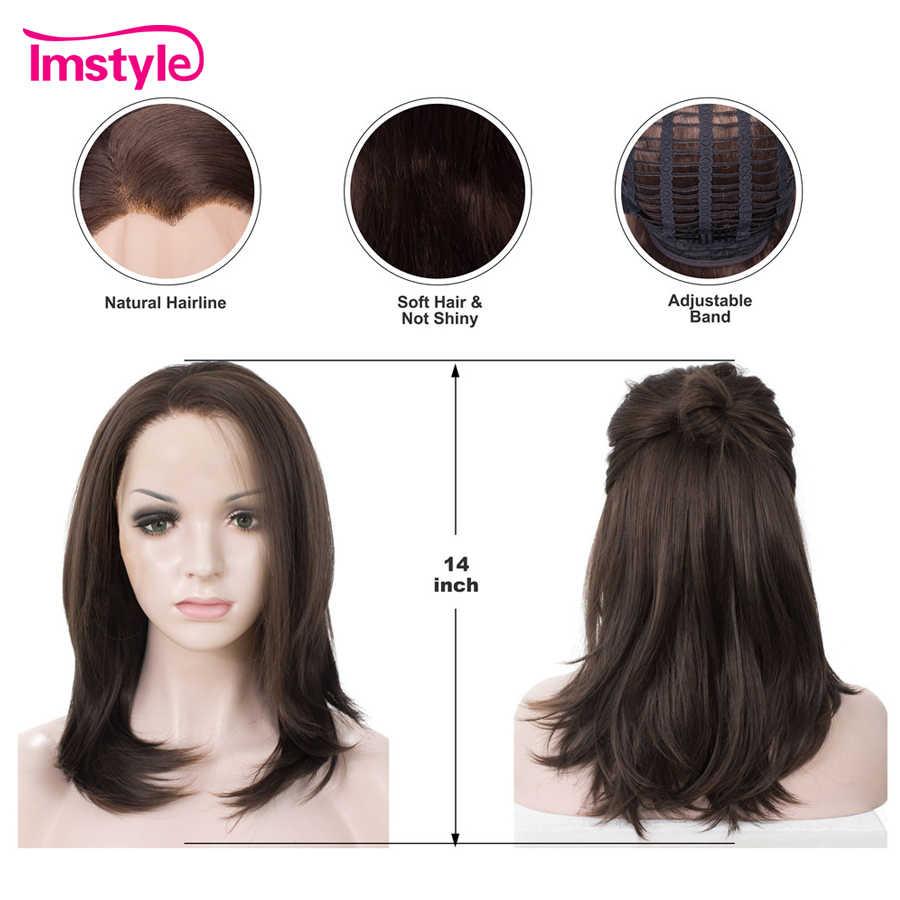 """Imstyle темно-коричневый парик короткий боб синтетические парики на кружеве для женщин термостойкие волокна натуральные волосы на каждый день парик 14"""""""