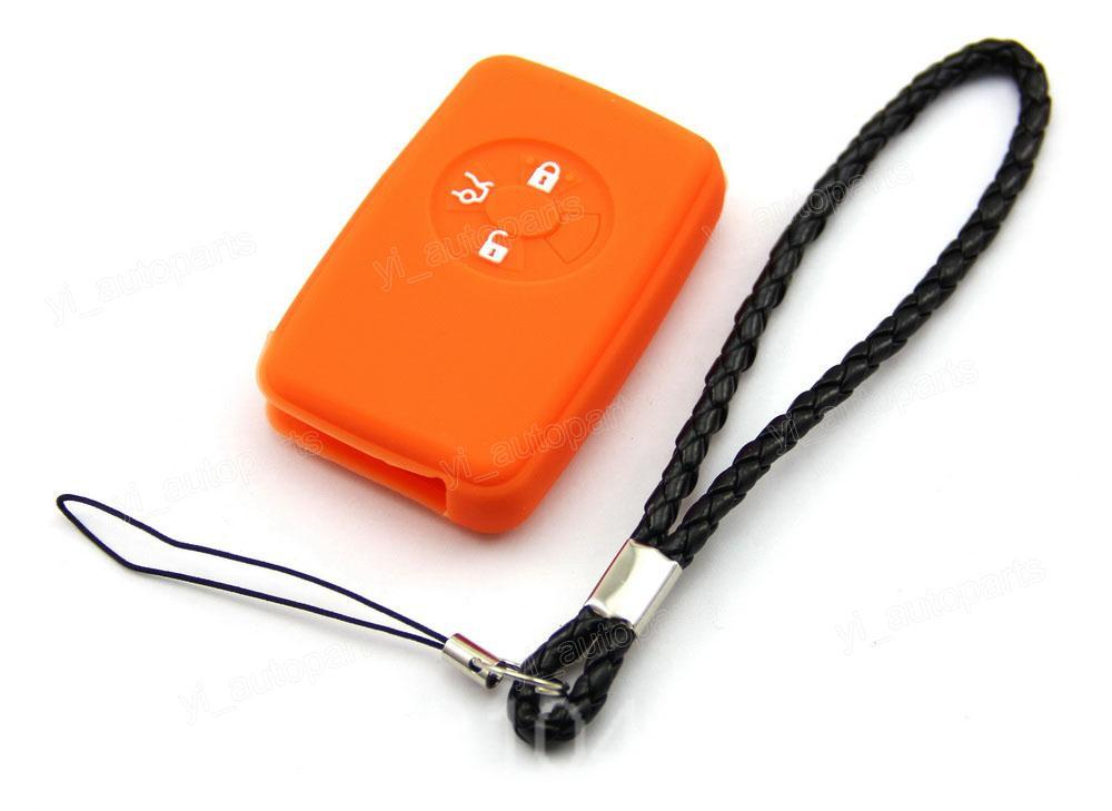 Orange Silicone Case Cover Fit For Toyota 05-07 Avalon Reiz Corolla RAV4 Remote Smart Key 3 Buttons 3BT