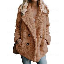 Laipelar Wool Winter Coat Women Autumn Wide Lapel Loose Jacket Female Casual Jumper 2018 Faux Fur Woolen Coat Ladies Overcoat faux fur embellished eyes pattern jumper