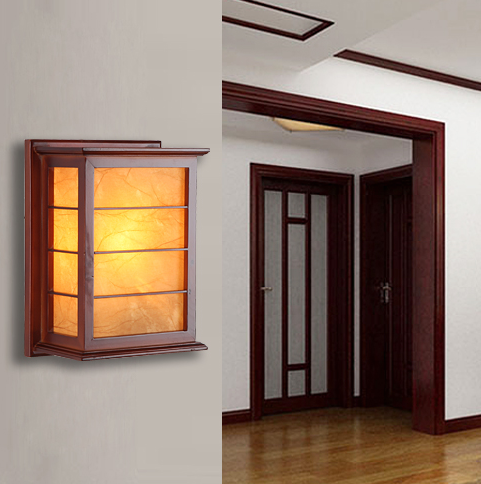 Chineses rustic red wood frame wall lamps Brief yellow parchment energy saving E27 lamp for bedroom&porch&stairs&studio QLBD002