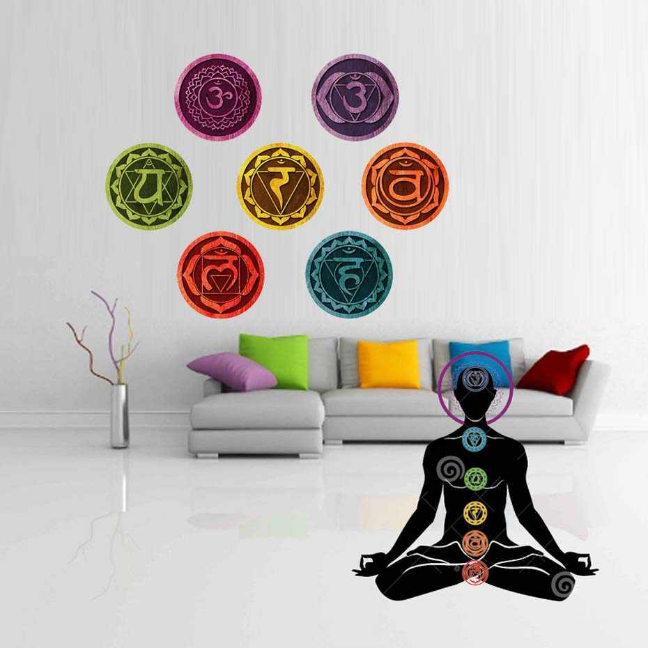 Chakras Mandala Yoga Wall Stickers Om Meditation Symbol Decal Chakra Removable PVC Wallpaper Bedroom Home Decor 18cm/pcs 7 Piece