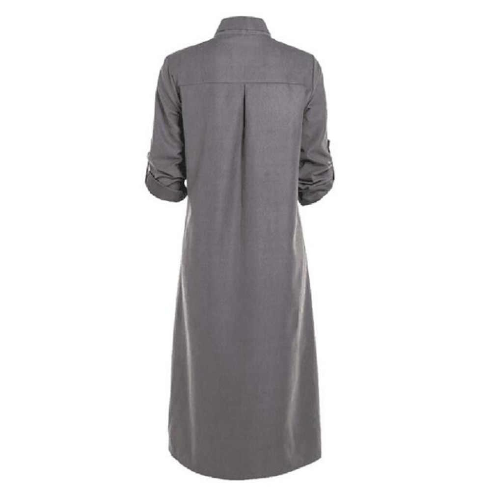 Femmes bouton genou longueur robe solide à manches longues robes de grande taille col rabattu bureau dames chemise naturel droite été