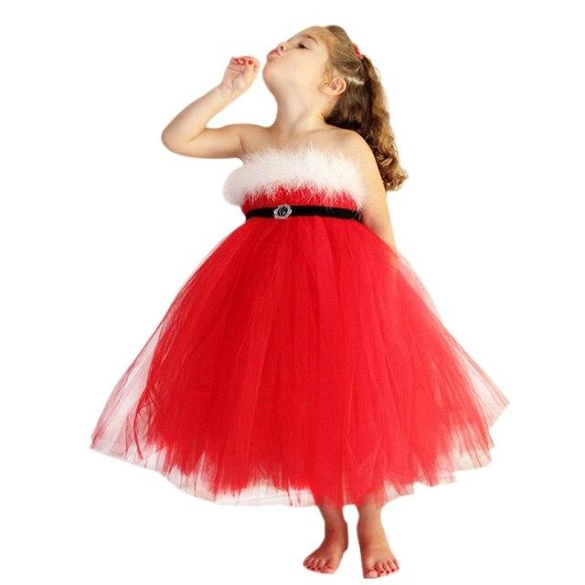 60249ddbcdbed Rouge De Noël Filles Robe Pour Bébé Santa Fantaisie de Partie De Boule robes  Enfants Festival