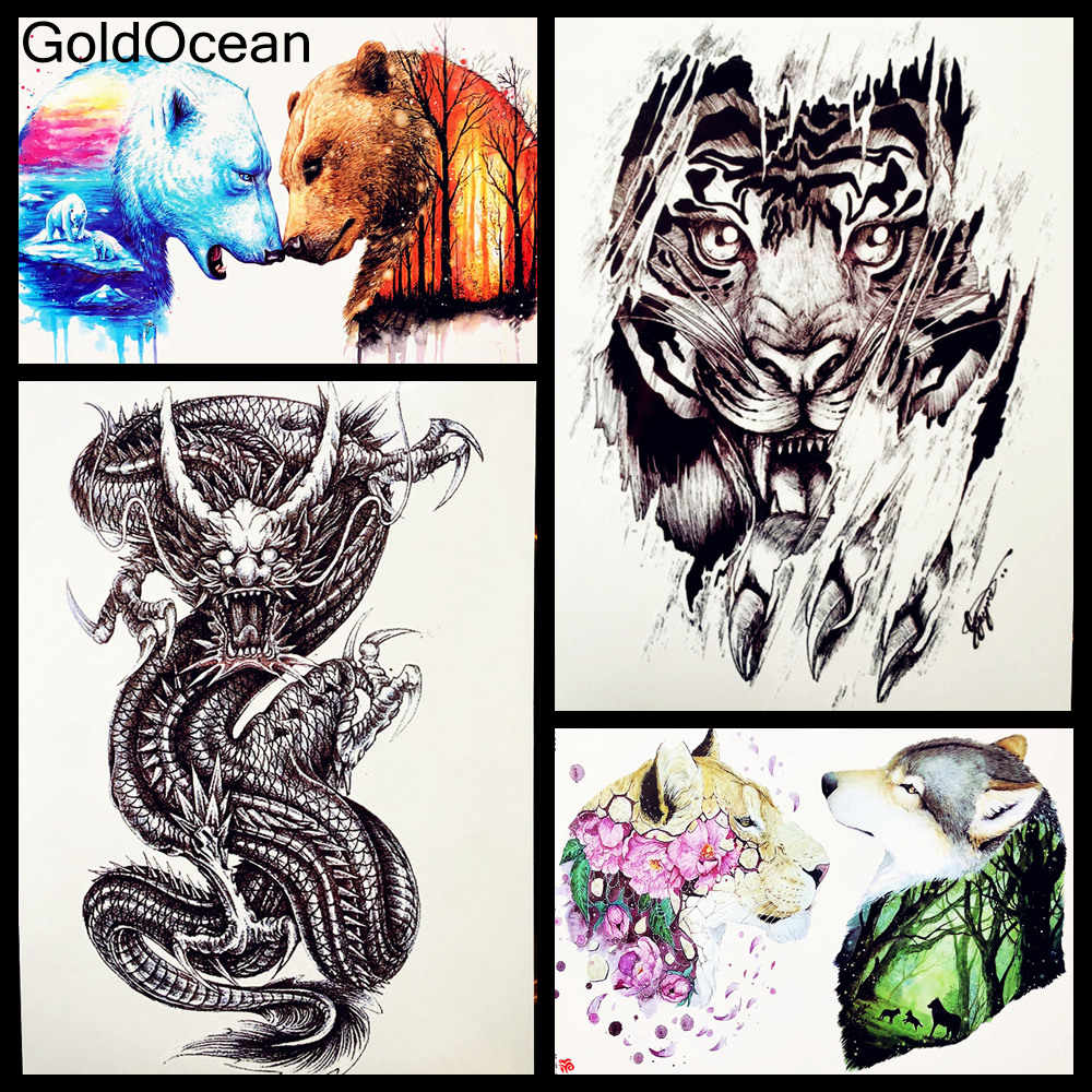 Mát Trung Quốc Myth Siêu Dragon Temporary Tattoo Cho Nam Giới Nghệ Thuật Cơ Thể Cánh Tay Tay Áo Dán Hình Xăm 21*15 CM Đen phun Không Thấm Nước Xăm